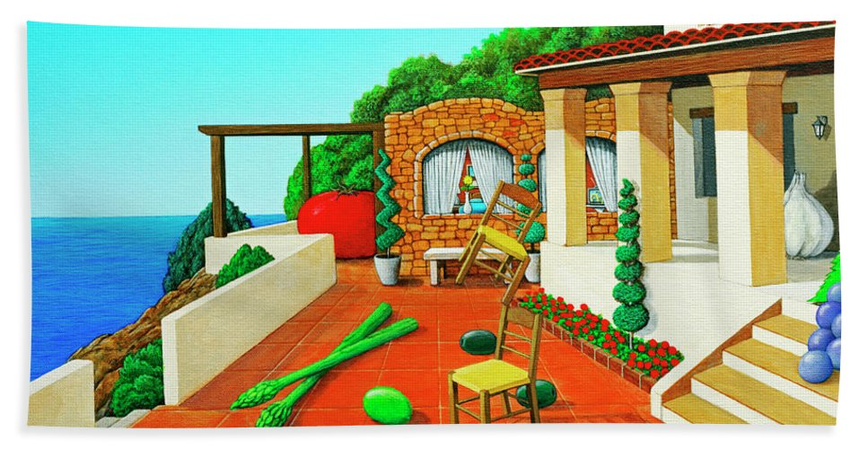 Tuscan Hand Towel featuring the painting Tuscan Vacation by Snake Jagger