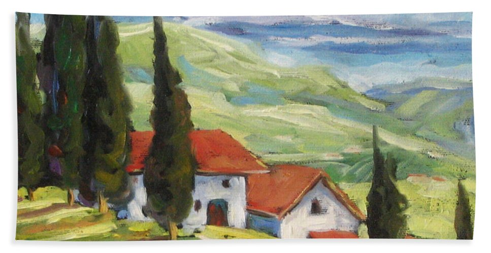 Tuscan Bath Towel featuring the painting Tuscan Villas by Richard T Pranke