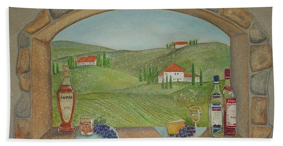 Mural Bath Towel featuring the painting Tuscan Window View by Anita Burgermeister