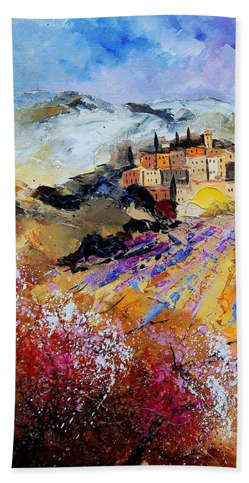 Provence Hand Towel featuring the painting Tuscany 56 by Pol Ledent