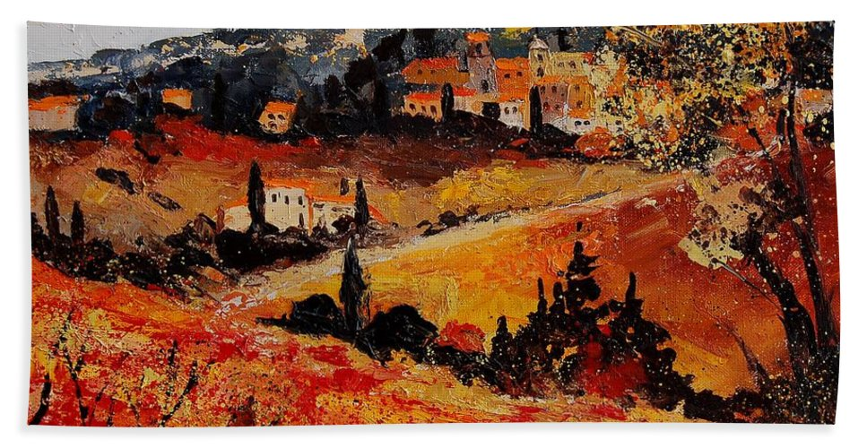 Provence Hand Towel featuring the painting Tuscany 56n by Pol Ledent
