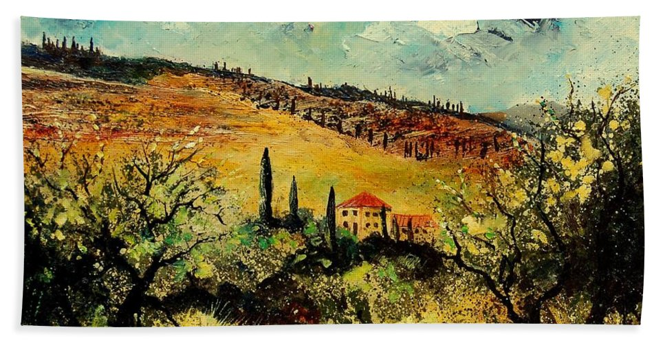 Provence Hand Towel featuring the painting Tuscany 67 by Pol Ledent