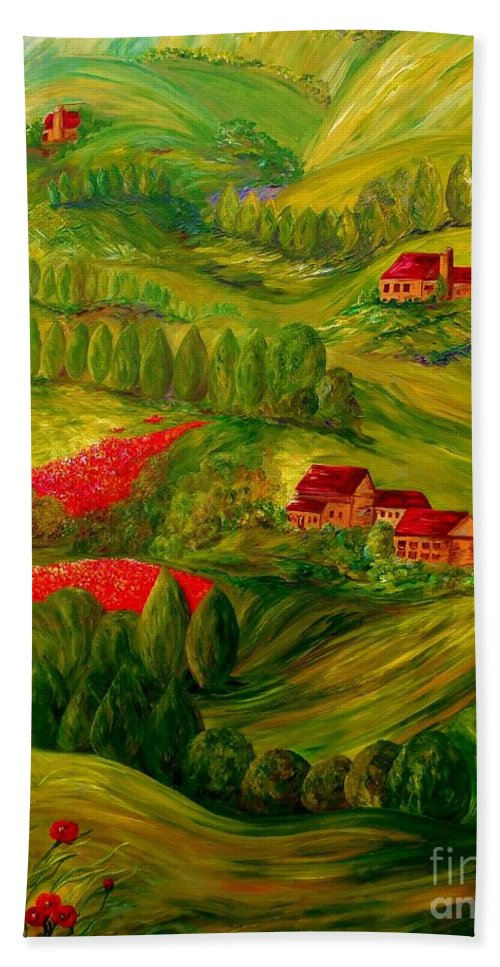 Tuscany Hand Towel featuring the painting Tuscany At Dawn by Eloise Schneider Mote