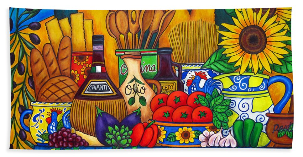 Still Life Hand Towel featuring the painting Tuscany Delights by Lisa Lorenz
