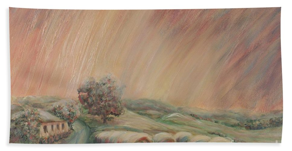 Landscape Bath Sheet featuring the painting Tuscany Hayfields by Nadine Rippelmeyer