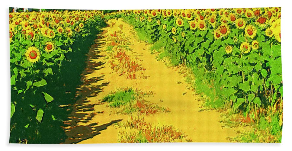 Tuscany Bath Sheet featuring the painting Tuscany Sunflowers by Dominic Piperata