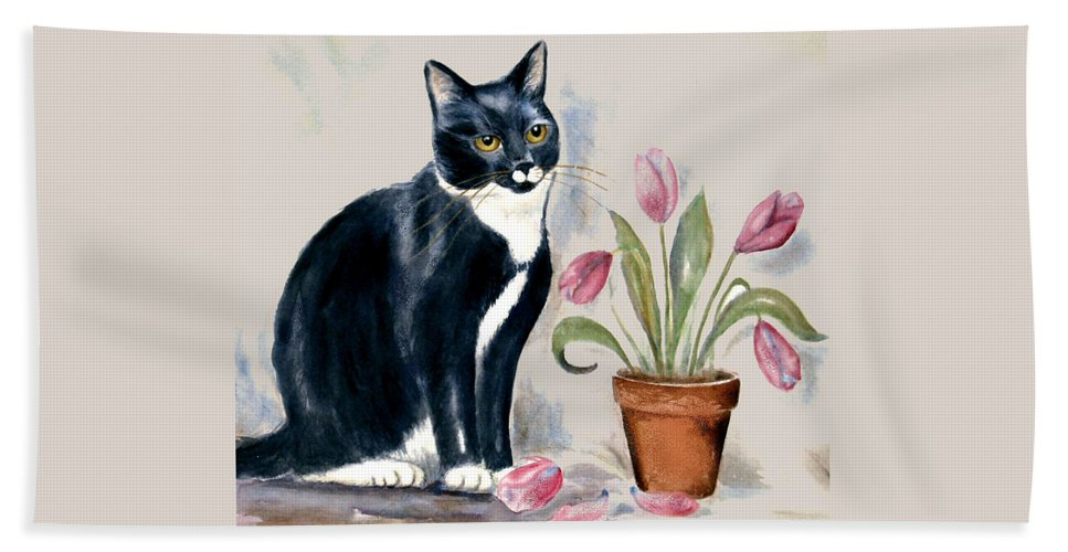 Cat Bath Towel featuring the painting Tuxedo Cat Sitting By The Pink Tulips by Frances Gillotti
