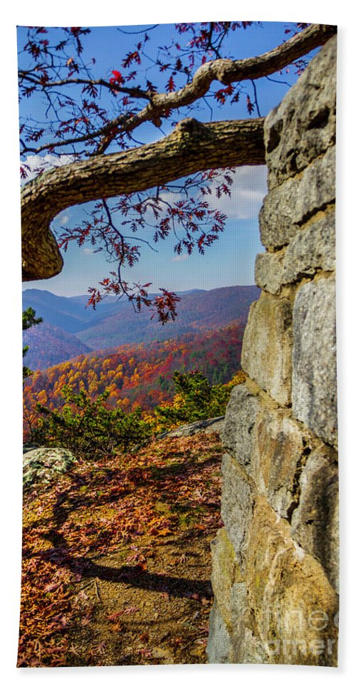 Twenty Bath Sheet featuring the photograph Twenty Minute Cliff Blue Ridge Parkway I by Karen Jorstad