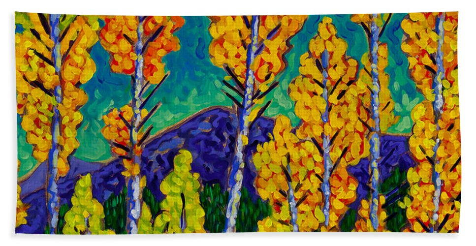 Twilight Hand Towel featuring the painting Twilight Aspens by Cathy Carey