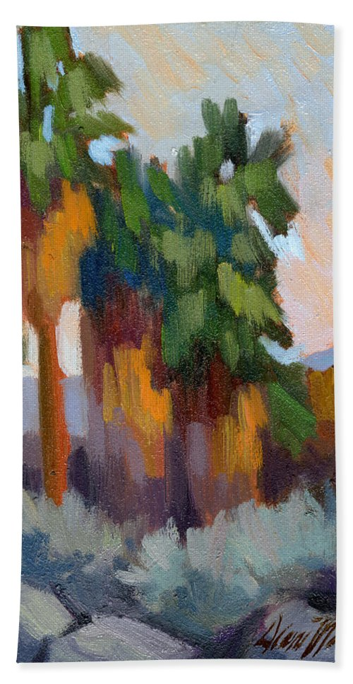 Twilight Bath Sheet featuring the painting Twilight At Indian Canyons by Diane McClary