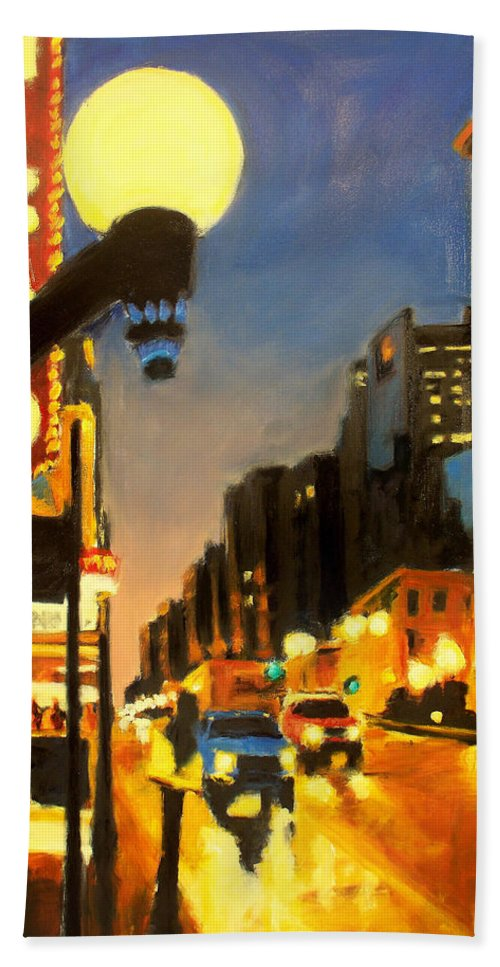 Rob Reeves Bath Towel featuring the painting Twilight In Chicago - The Watcher by Robert Reeves