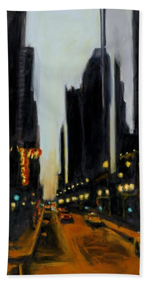 Rob Reeves Hand Towel featuring the painting Twilight In Chicago by Robert Reeves