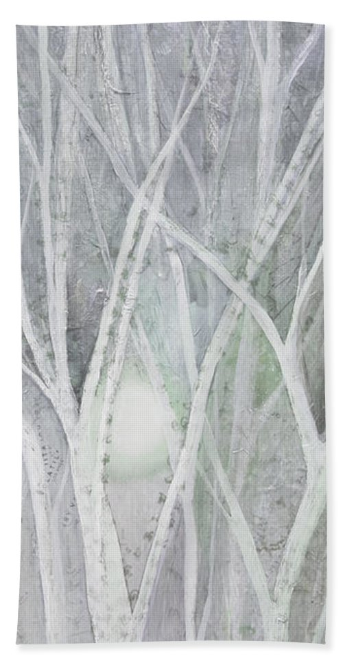 Trees Bath Towel featuring the painting Twilight In Gray II by Shadia Derbyshire