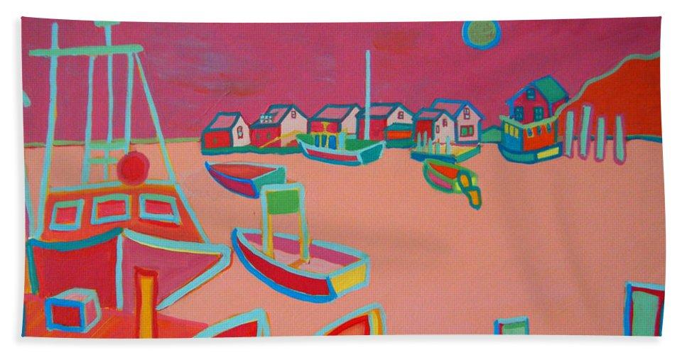 Seascape Bath Towel featuring the painting Twilight On Menemsha by Debra Bretton Robinson