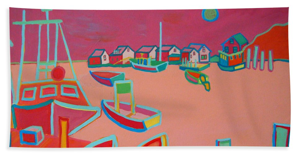 Seascape Hand Towel featuring the painting Twilight On Menemsha by Debra Bretton Robinson