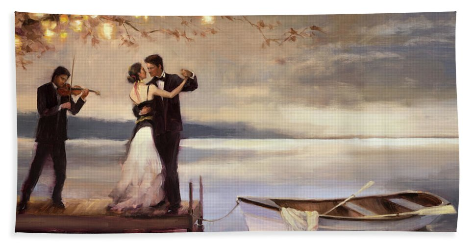 Romantic Hand Towel featuring the painting Twilight Romance by Steve Henderson