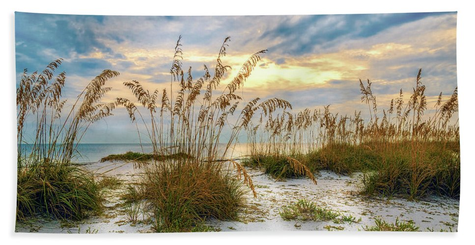 Beach Hand Towel featuring the photograph Twilight Sea Oats by Steven Sparks