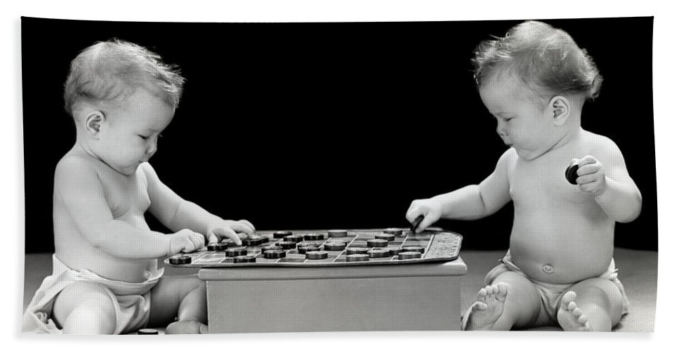 1930s Bath Sheet featuring the photograph Twin Babies Playing Checkers, C.1930-40s by H. Armstrong Roberts/ClassicStock