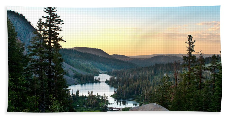 Twin Lakes Hand Towel featuring the photograph Twin Lakes by Chris Brannen