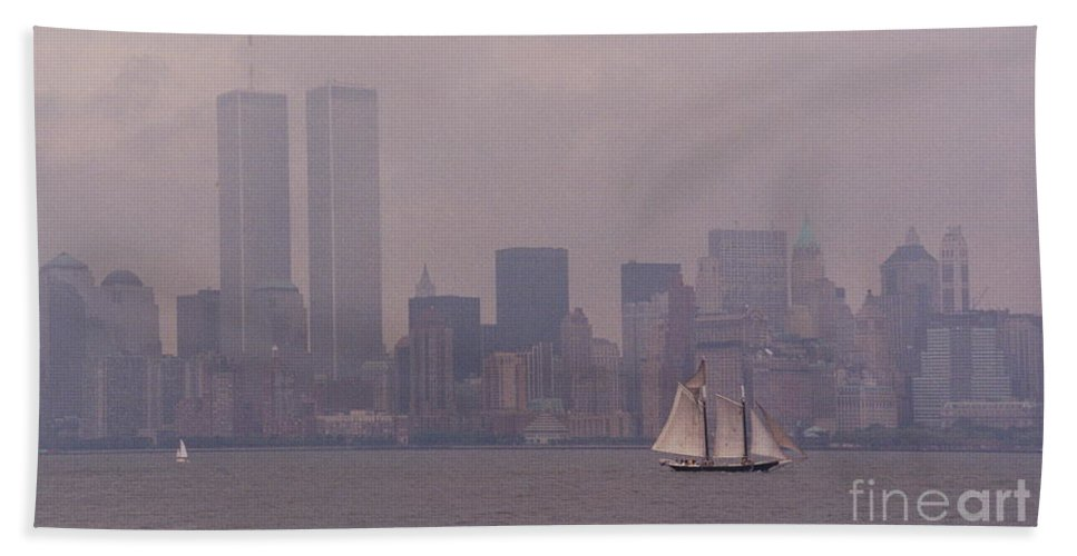 Twin Towers Hand Towel featuring the photograph Twin Towers, Nyc- 1999 by Sonal Dave