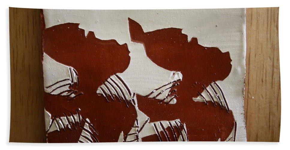 Jesus Bath Sheet featuring the ceramic art Twins - Tile by Gloria Ssali