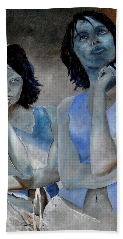 Model Hand Towel featuring the painting Twins by Pol Ledent