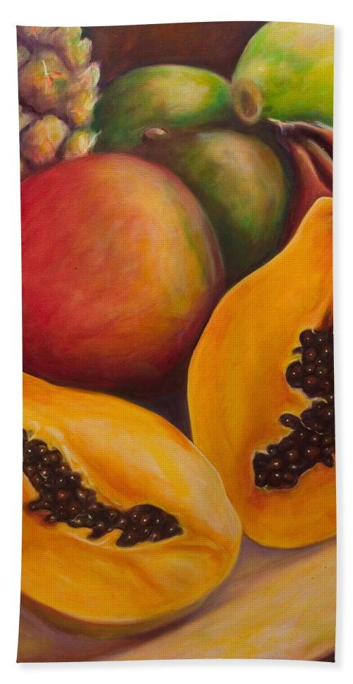 Papaya Bath Towel featuring the painting Twins by Shannon Grissom
