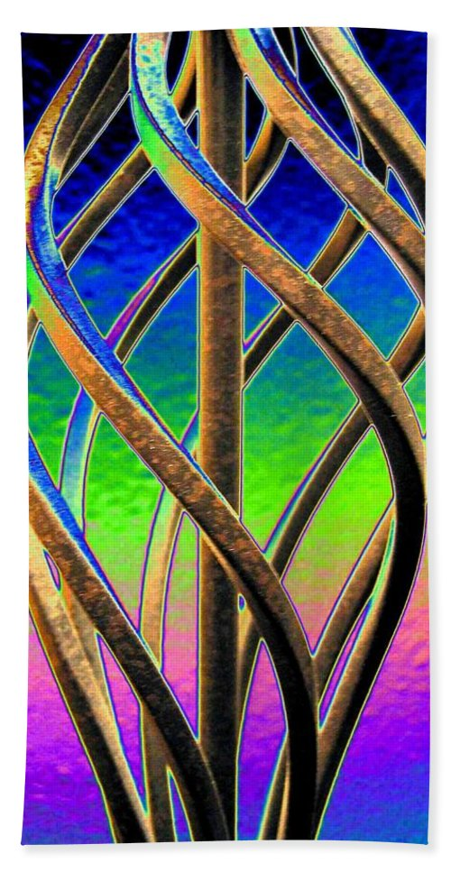 Abstract Bath Sheet featuring the digital art Twist And Shout 2 by Will Borden