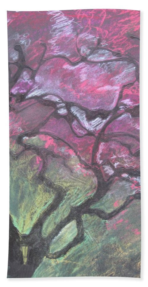 Pastel Bath Towel featuring the drawing Twisted Cherry by Leah Tomaino