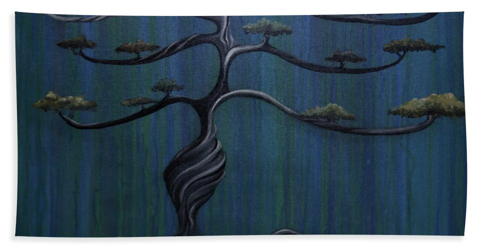 Tree Hand Towel featuring the painting Twisted Oak by Kelly Jade King