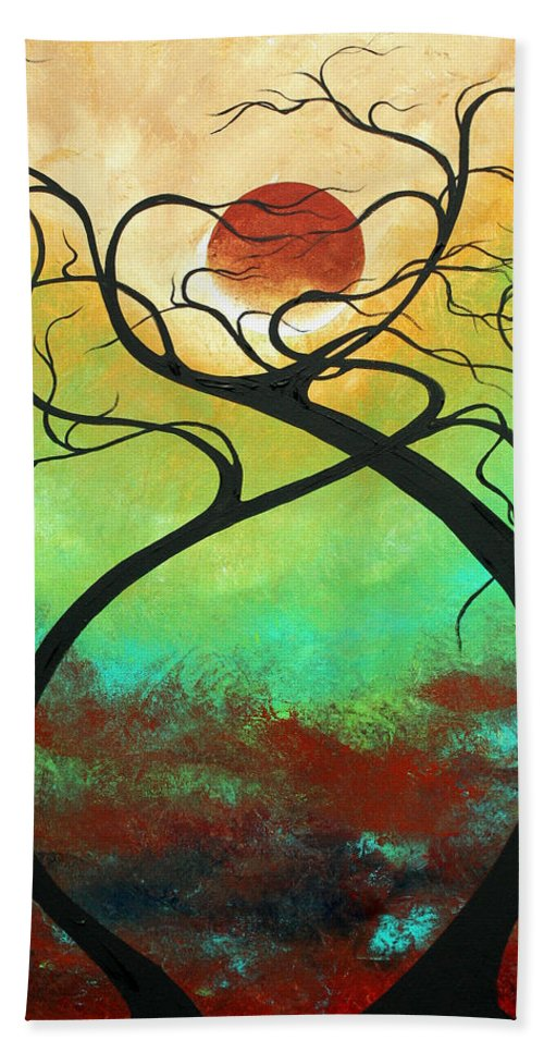 Landscape Bath Sheet featuring the painting Twisting Love II Original Painting By Madart by Megan Duncanson