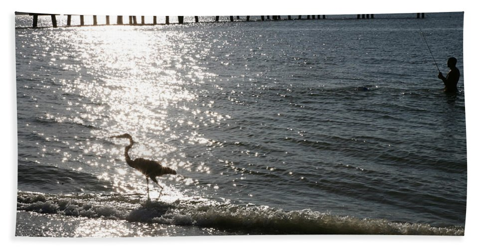 Fort De Soto Bath Towel featuring the photograph Two Anglers At Fort De Soto by Mal Bray