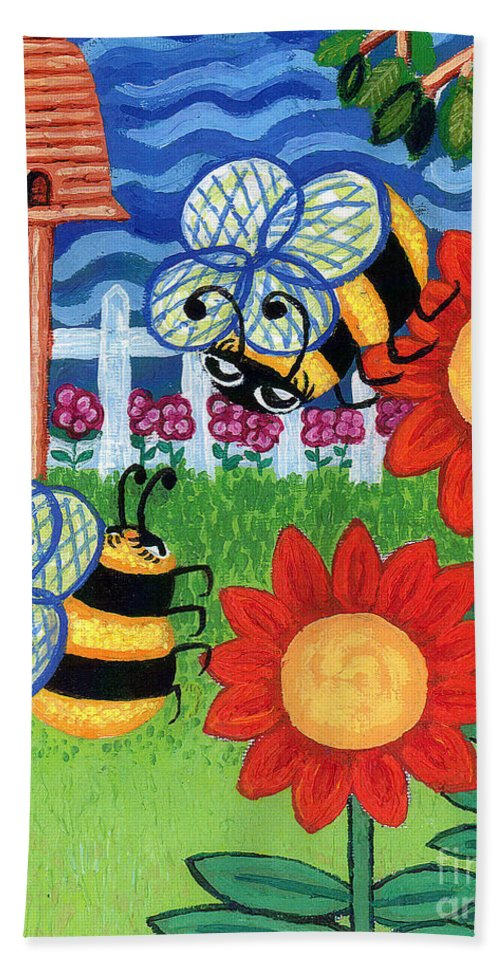 Sunflower Hand Towel featuring the painting Two Bees With Red Flowers by Genevieve Esson