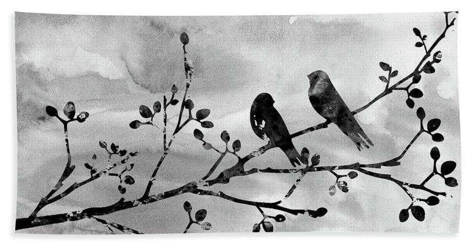 Two Birds On A Flowering Branch Bath Sheet featuring the digital art Two Birds-black by Erzebet S
