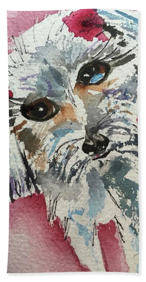 Pet Hand Towel featuring the painting Two Bows by Bonny Butler