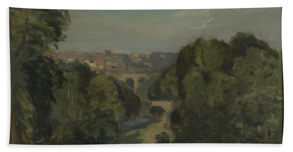 Two Bridges Hand Towel featuring the painting Two Bridges by Philip Steer