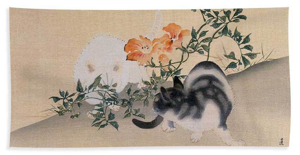 Black; White; Stripes; Striped; Hibiscus; Flower; Flowers; Chat; Chats; Asian; Oriental; Animal Bath Towel featuring the painting Two Cats by Japanese School
