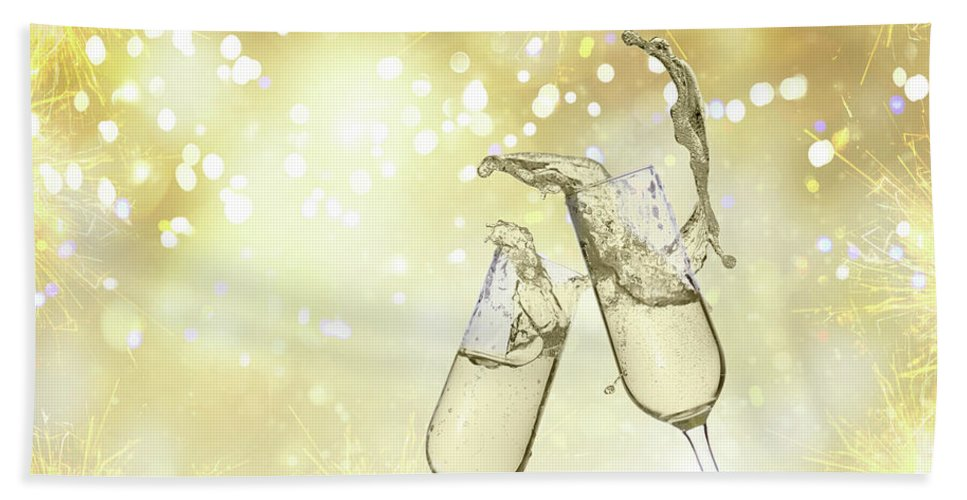Champagne Hand Towel featuring the photograph Toast Champagne Glasses by Anastasy Yarmolovich