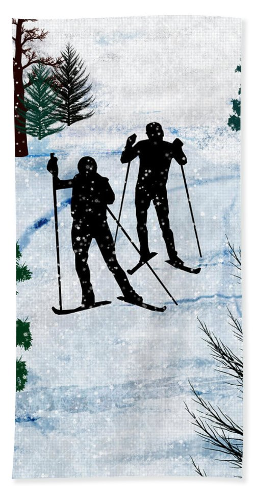 Ski Bath Sheet featuring the painting Two Cross Country Skiers In Snow Squall by Elaine Plesser