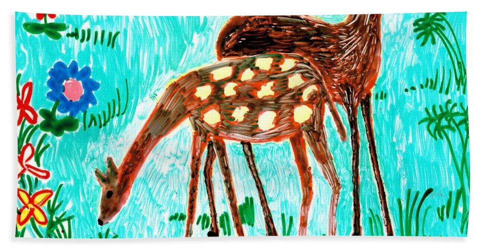 Sue Burgess Bath Sheet featuring the painting Two Deer by Sushila Burgess