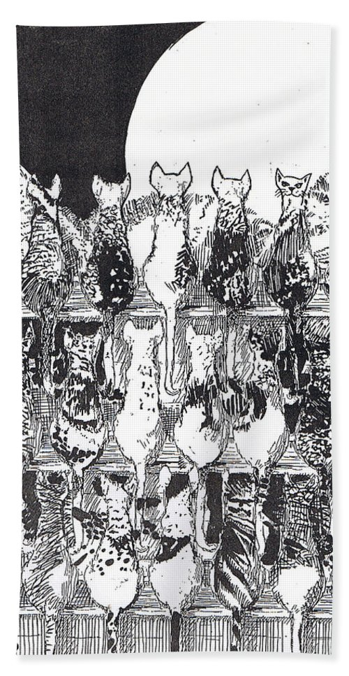 Cats Hand Towel featuring the drawing Two Dozen And One Cats by Seth Weaver
