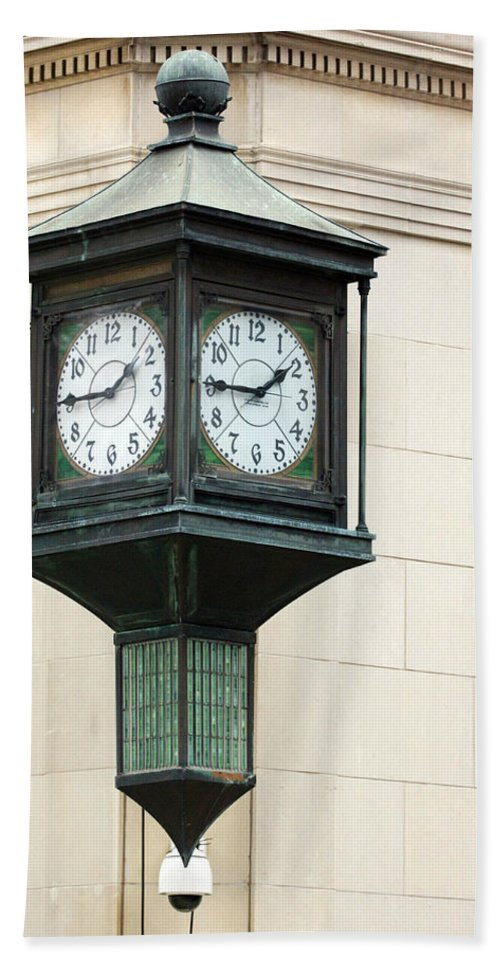 Time Clock Architecture Green Urban City Hand Towel featuring the photograph Two Faced Time by Jill Reger