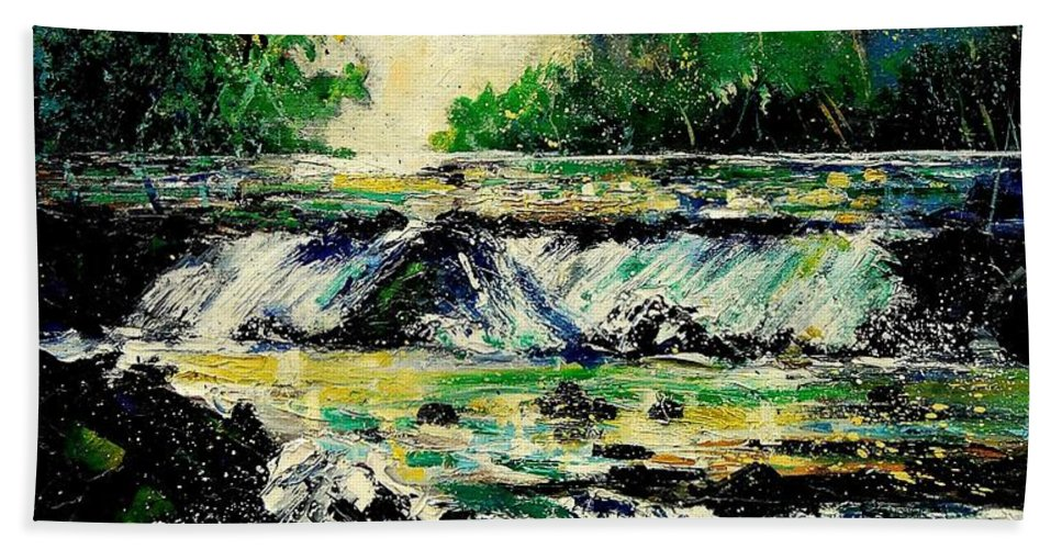 River Hand Towel featuring the painting Two Falls by Pol Ledent