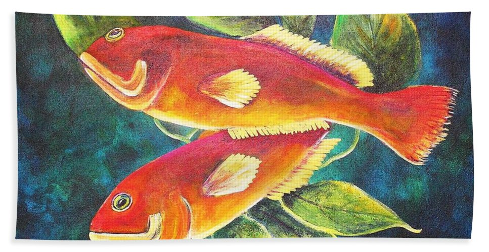 Two Fish Bath Sheet featuring the painting Two Fish by Patricia Piffath
