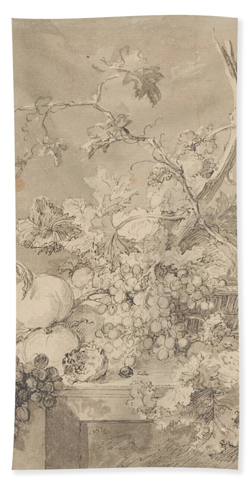 Jan Van Huysum Bath Sheet featuring the painting Two Floral Still Lifes by Jan van Huysum