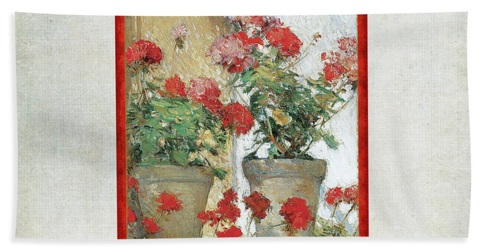 Old Masters Hand Towel featuring the painting Two Geranium Pots by Audrey Jeanne Roberts