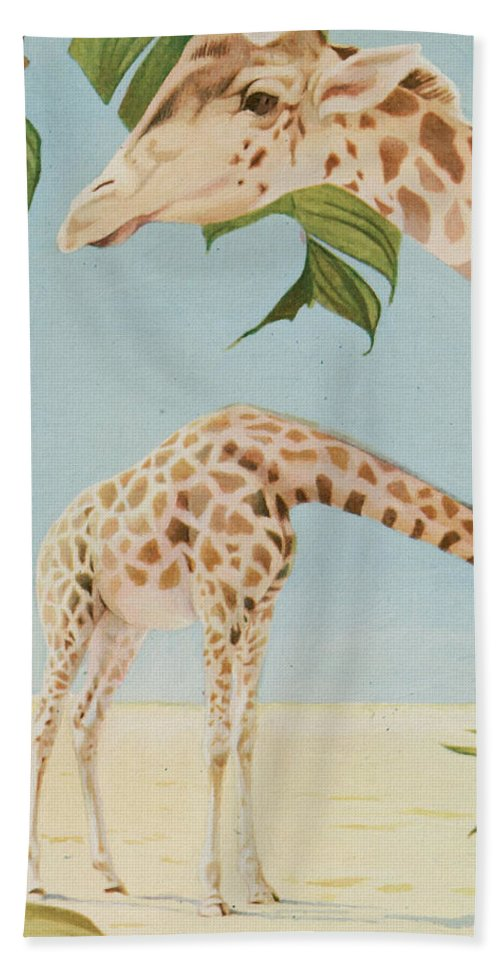 Two Giraffes Hand Towel featuring the painting Two Giraffes by Art Museum