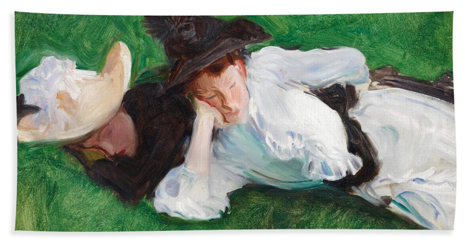John Singer Sargent Hand Towel featuring the painting Two Girls On A Lawn by John Singer Sargent