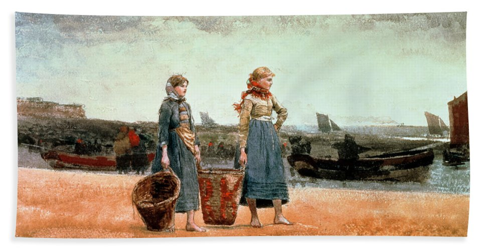 Two Girls On The Beach Bath Sheet featuring the painting Two Girls On The Beach by Winslow Homer