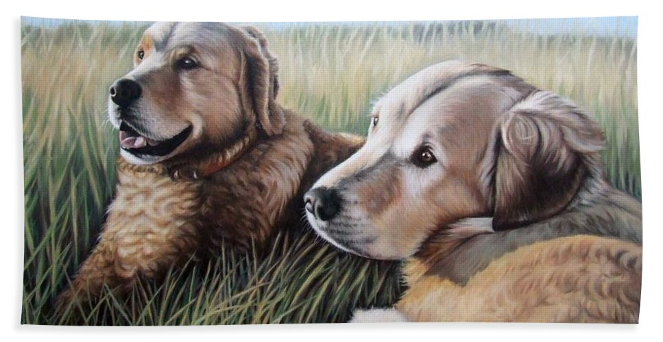 Dogs Hand Towel featuring the painting Two Golden Retriever by Nicole Zeug